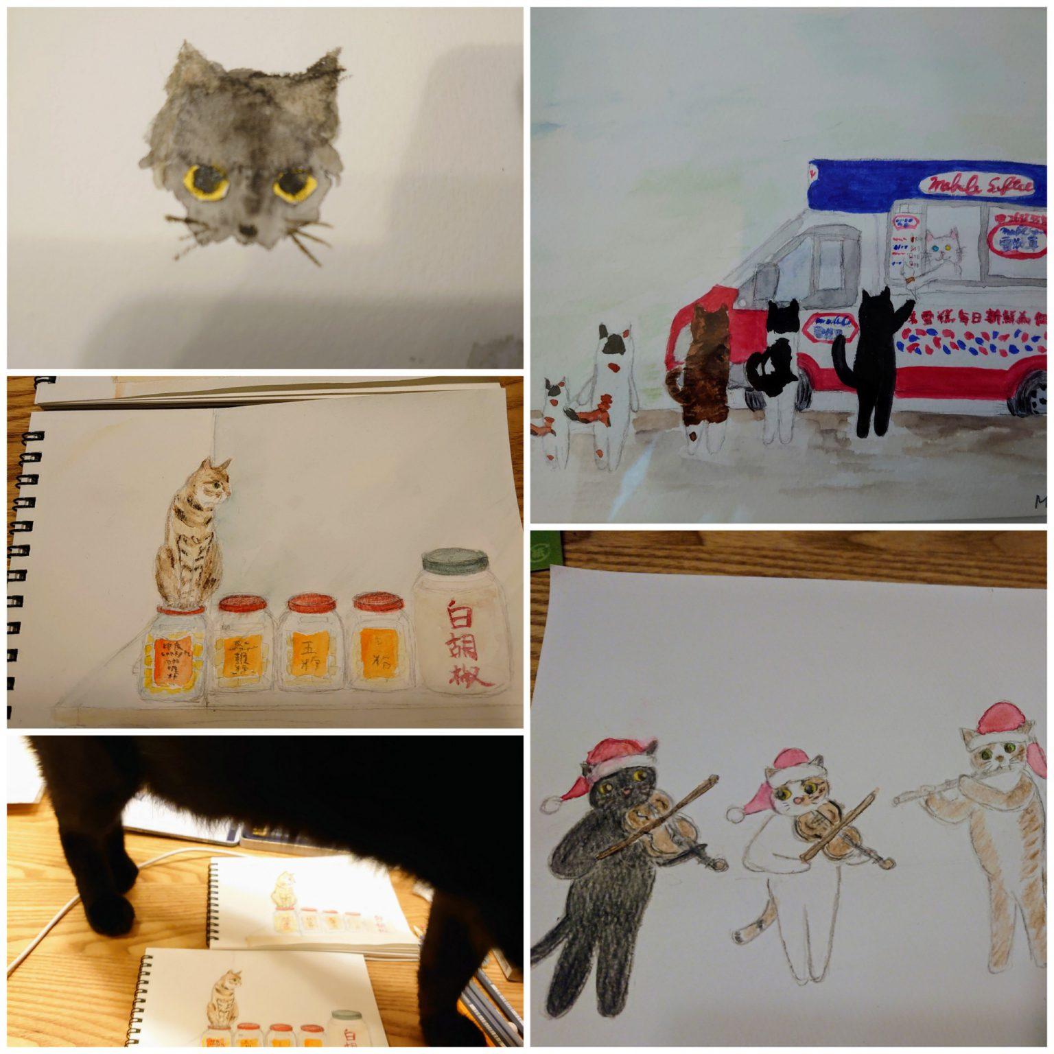 猫の水彩画2